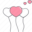 balloons, heart, love, saint valentine, valentine's day icon