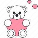 bear, happy, heart, love, seint valentine, teddy bear, valentine's day icon