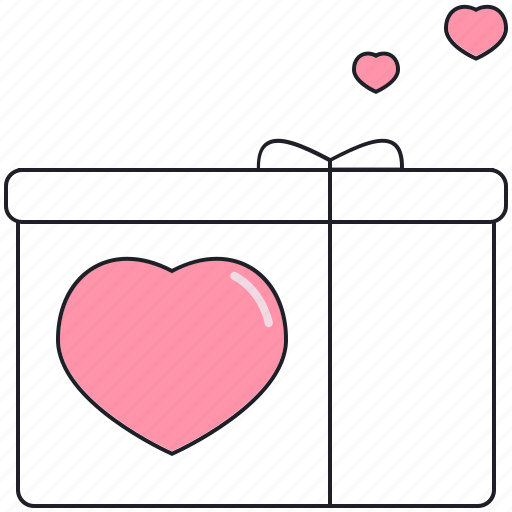 box, happy, heart, present, seint valentine, valentine's day icon