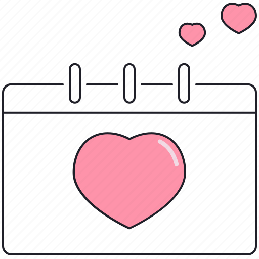 calendar, celebration, heart, saint valentine, valentine's day icon