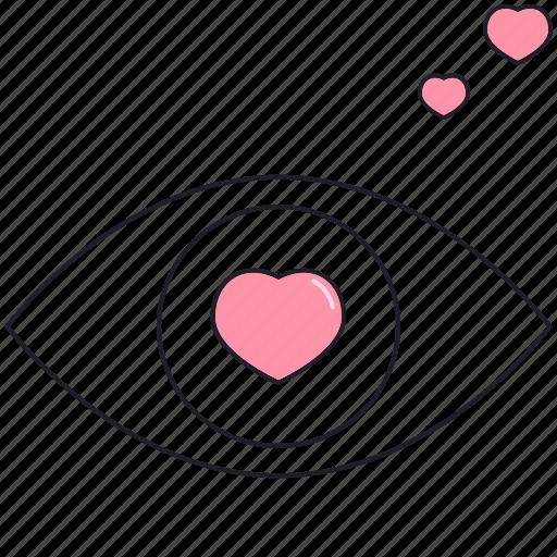 eye, heart, in love, saint valentine, valentine's day icon