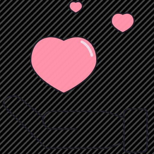 hand, heart, in love, love, saint valentine, valentine's day icon