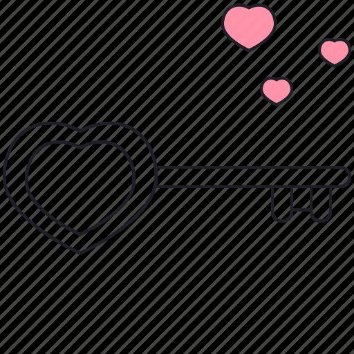 heart, key, love, saint valentine, valentine's day icon