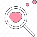 heart, loupe, love, saint valentine, valentine's day icon