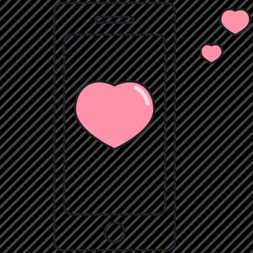 heart, love, phone, valentine, valentine's day icon