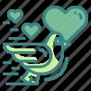 bird, valentines, heart, lover, romantic, fly, pigeon