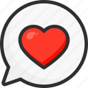 chat, day, heart, love, message, valentines icon