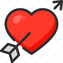 arrow, day, heart, hit, love, valentines icon