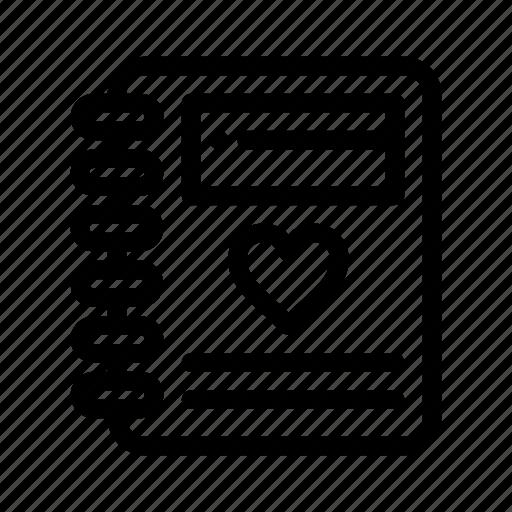 day, heart, love, notebook, valentine, valentines, wedding icon