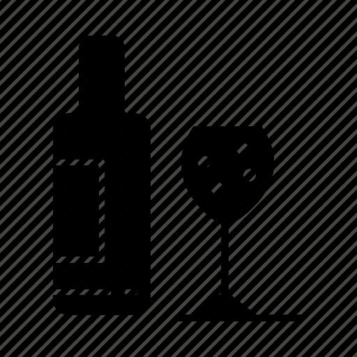 bottle, drink, glass, love icon
