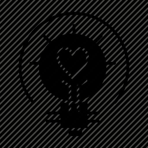 bulb, light, tips, valentine icon