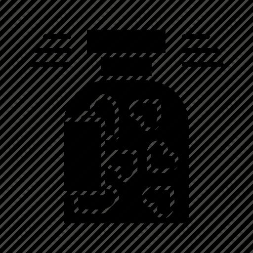 bottle, cookies, heart, jar, valentine icon