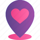 heart, location, love, pin, placeholder, romance, valentine icon