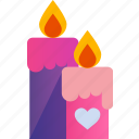 candle, candles, heart, love, romance, valentine icon