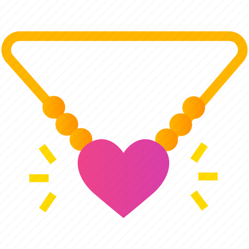 gift, gold, heart, love, necklace, romance, valentine icon