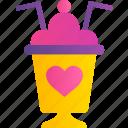 cocktail, heart, love, romance, valentine, cafe, dessert