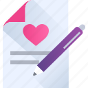 heart, letter, love, romance, valentine, writting icon