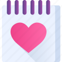 calendar, date, heart, love, note, romance, valentine icon