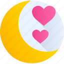 heart, love, moon, night, romance, stars, valentine icon