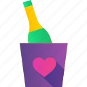 bottle, champagne, drink, heart, love, romance, valentine icon