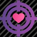 gift, heart, love, romance, target, valentine icon