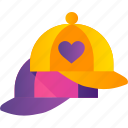 cap, hat, heart, love, romance, valentine icon
