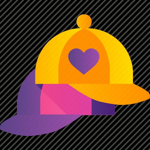 cap, hat, heart, love, romance, valentine icon