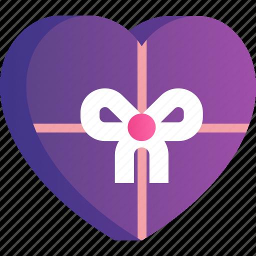 box, chocolate, heart, love, romance, valentine icon