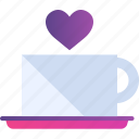coffee, date, drink, heart, love, romance, valentine icon