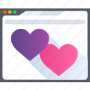 browser, heart, love, online, romance, valentine icon