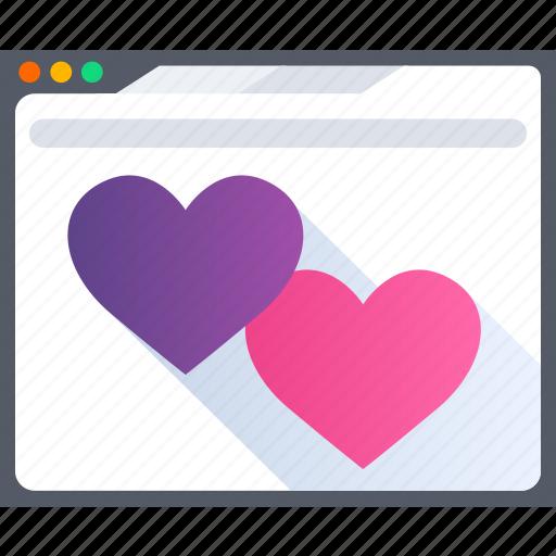 browser, heart, love, online, romance, valentine icon