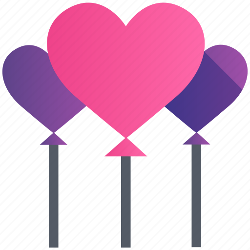 balloon, gift, heart, love, romance, valentine icon