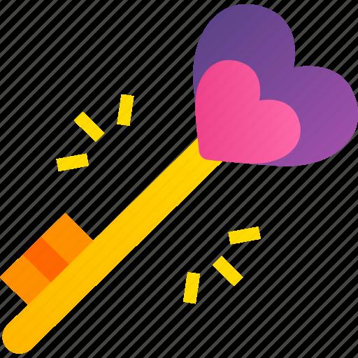 Key, heart, love, romance, valentine, gift, gold icon - Download on Iconfinder