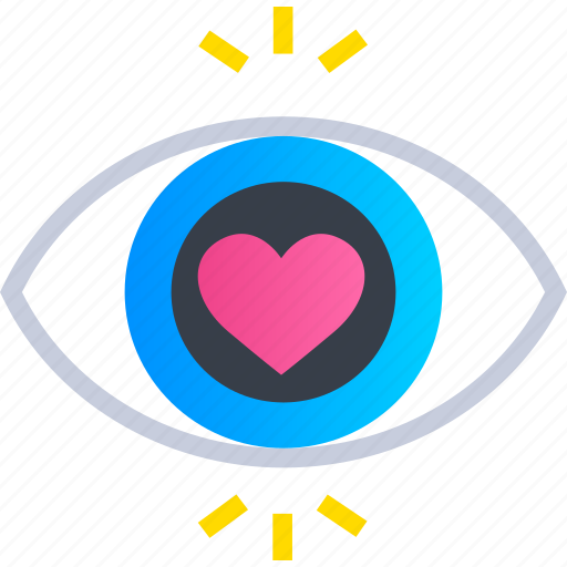 eye, heart, love, romance, romantic, valentines, wedding icon