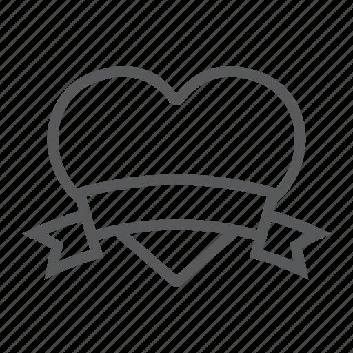 banner, decor, heart, love, ribbon, valentine icon