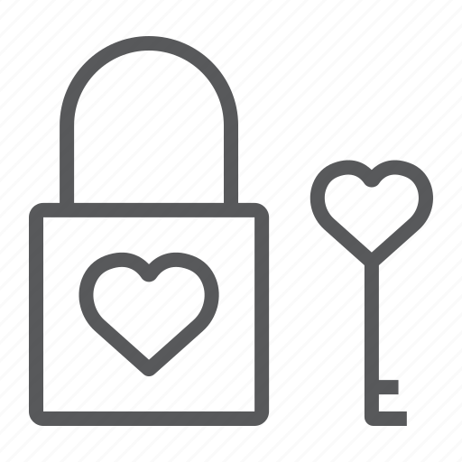 heart, key, lock, love, padlock, valentine icon