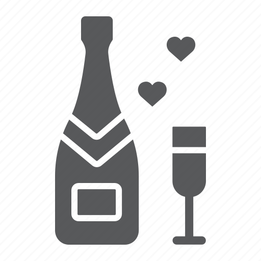 alcohol, bottle, champagne, glass, holiday, love, valentine icon