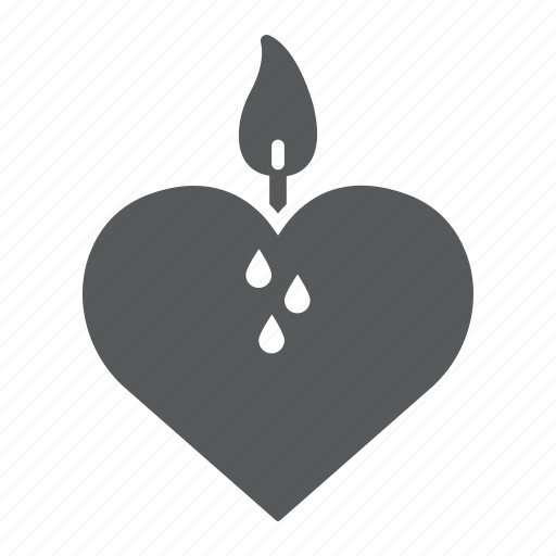 candle, fire, heart, love, valentine icon
