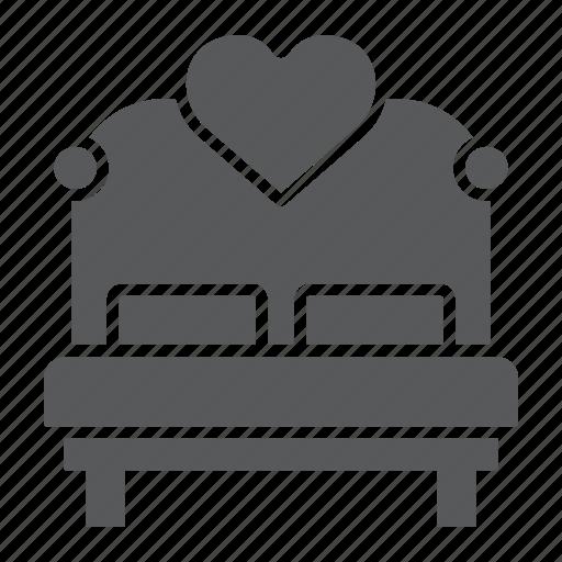 bed, heart, hotel, love, sex, valentine icon