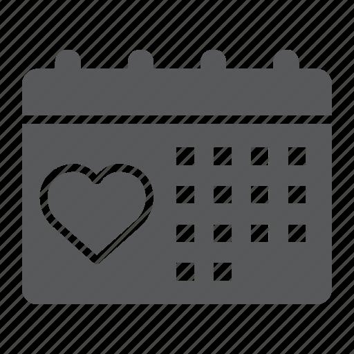 calendar, date, day, heart, love, valentine icon