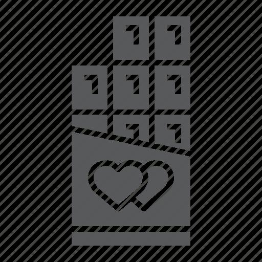 bar, chocolate, dessert, heart, love, valentine icon