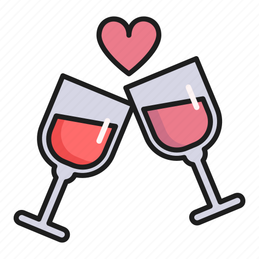 cheers, day, heart, love, valentines icon