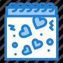 calendar, heart, love, romance icon