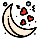moon, night, valentines icon