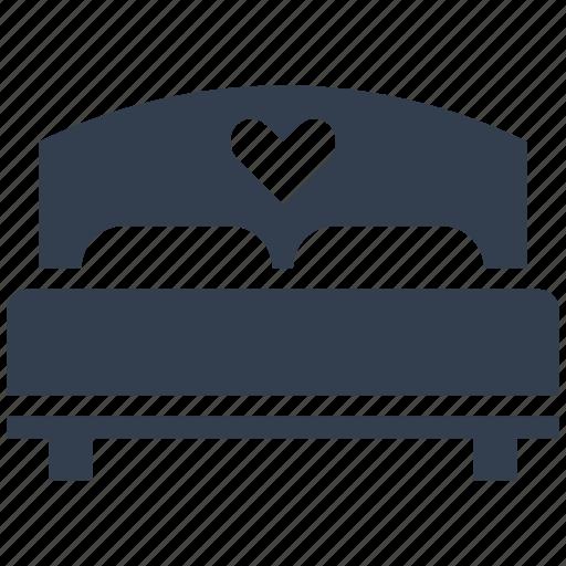 bed, celebration, couple, double, furniture, heart, hotel, love, passion, romantic, valentine, valentine's day icon