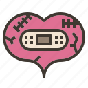 bandage, broken, heal, heart, repair, valentine icon