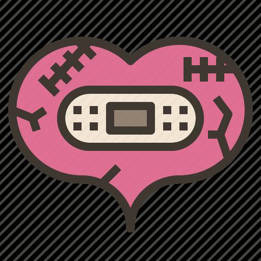 bandage, broken, heal, heart, repair, valentine icon