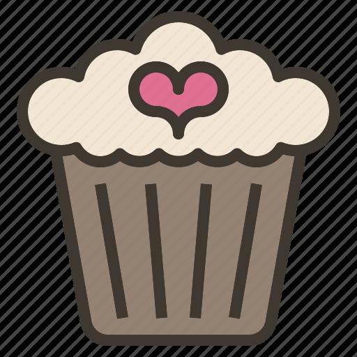 cupcake, dessert, sweet, valentine icon