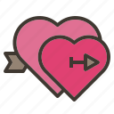 arrow, couple, falling, heart, love, valentine icon