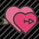 arrow, couple, falling, heart, love, valentine